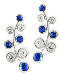 Rina Limor - Blue 18k White Gold Vine Earrings With Diamonds & Sapphires - Lyst