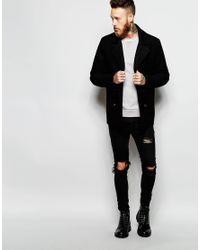 ASOS | Wool Peacoat In Black for Men | Lyst