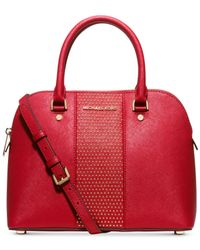 Michael Kors | Red Michael Studded Cindy Medium Dome Satchel | Lyst