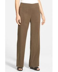 Eileen Fisher | Green Tencel Twill Straight Leg Trousers | Lyst