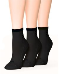 Hue | Black Air Cushion Mini Crew Top Socks | Lyst