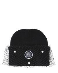 Silver Spoon Attire   Black Pearl Mesh Veil Beanie Hat   Lyst