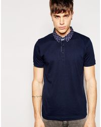 Jack & Jones. Men's Blue Polo Shirt With Contrast Polka Dot Collar