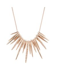 Alexis Bittar - Metallic Rose Gold Encrusted Spike Bib Necklace - Lyst