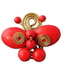 Aeravida | Handmade Swirl Brass Red Butterfly Free Sz Ring | Lyst
