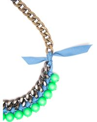 Lanvin - Blue Bead and Ribbon Necklace - Lyst