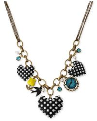 Betsey Johnson | Black Two-Tone Heart Charm Frontal Necklace | Lyst