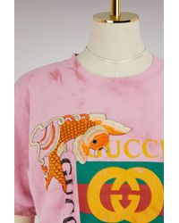 Gucci - Pink Fish Embroidered Cotton T-shirt - Lyst