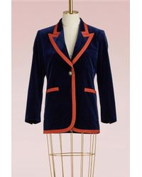 Gucci | Blue Stretch Velvet Jacket With Grosgrain Trim | Lyst