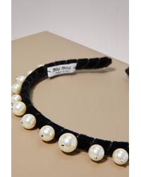 Miu Miu - Black Pearl Embellished Headband - Lyst