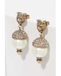 Gucci - Metallic Feline Earrings With Crystals - Lyst