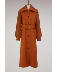 Chloé - Brown Wool Coat Knit Sleeves - Lyst