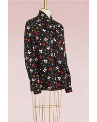 Marc Jacobs | Black Painted Flower Silk Jacquard Tie Neck Long Sleeve Blouse | Lyst