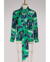Gucci - Green Wild Cat Silk Shirt - Lyst
