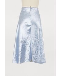 Nina Ricci - Blue Crinkled Satin Midi Skirt - Lyst