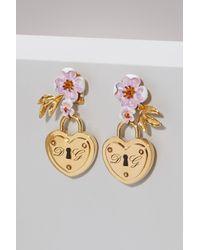 Dolce & Gabbana - Metallic Heart Lock Earrings - Lyst