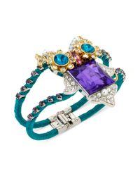 Betsey Johnson | Green Twotone Crystal Owl Hinged Bangle Bracelet | Lyst