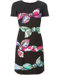 Boutique Moschino | Black Bow Print Short Dress | Lyst