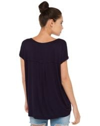 AKIRA - Blue Rolled Up Navy Top - Lyst