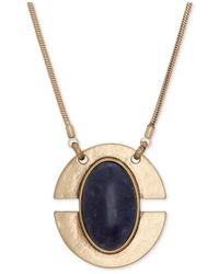 Lucky Brand | Blue Gold-tone Lapis Oval Pendant Necklace | Lyst