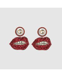 Gucci - Metallic Mouth Earrings With Crystals - Lyst