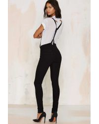 Nasty Gal | Black Courtshop James Leather Suspender Jeans | Lyst