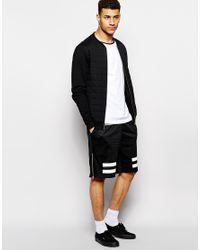 Criminal Damage - Black Shorts In Mesh With Stripes Print for Men - Lyst