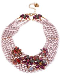 Betsey Johnson | Pink Rose Gold-tone Faux-pearl Multi-row Flower Torsade Necklace | Lyst