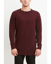 Forever 21 - Red Vented-hem Marled Sweater for Men - Lyst