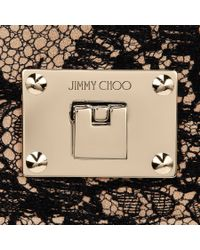Jimmy Choo | Ruby Black Lace On Leather Mini Cross Body Bag | Lyst