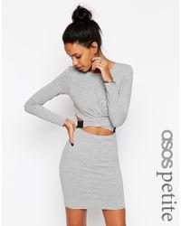 ASOS - Gray Cross Front Long Sleeve Mini Bodycon Dress - Lyst