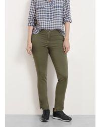 Violeta by Mango - Green Zip Cotton Trousers - Lyst