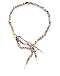 Alexis Bittar | Metallic Miss Havisham Liquid Pavé Crystal & 4mm-8mm Grey Shell Pearl Spiked Lariat Necklace | Lyst