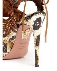 Aquazzura - Multicolor 'sexy Fringe' Stud Snakeskin Sandals - Lyst