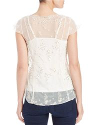 Jessica Simpson - Natural Bead-embellished Blouse - Lyst