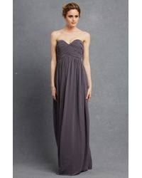 Donna Morgan | Gray 'laura' Strapless Ruched Chiffon Gown | Lyst