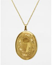 Lord & Taylor | Yellow 14k Gold Engraved Oval Locket Necklace | Lyst
