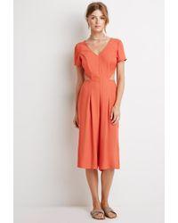 Forever 21 - Orange Open-back Culottes Jumpsuit - Lyst