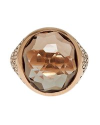 Laurent Gandini - Pink Rose Gold Smoky Quartz Oval Ring - Lyst