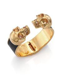 Alexander McQueen - Metallic Leather-Inset Double Skull Cuff Bracelet - Lyst