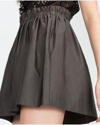 Zara | Black Elastic Waist Mini Skirt | Lyst