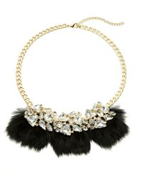 ABS By Allen Schwartz | Black Bitter Not Sweet Jeweled Fur Necklace | Lyst
