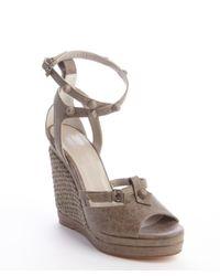 Balenciaga | Gray Grey Distressed Leather Arena Wedge Sandal Sandal | Lyst