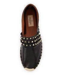 Valentino - Black Rockstud Fringed Leather Espadrilles - Lyst