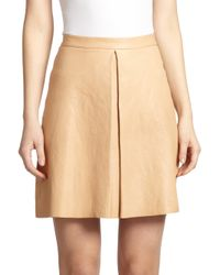 Alice + Olivia | Natural Russo Leather Skirt | Lyst