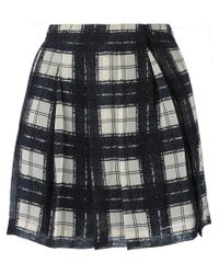 DIESEL - Gray Check Print Pleated Skirt - Lyst