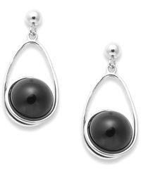 Macy's | Black Sterling Silver Earrings, Sterling Silver Onyx Drop Earrings (10mm) | Lyst