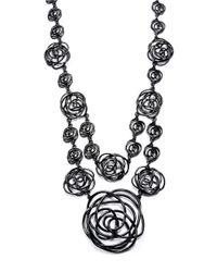 Oscar de la Renta | Black Wire Rose Draped Necklace | Lyst