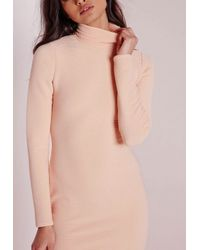 Missguided - Roll Neck Ribbed Midi Dress Pale Pink - Lyst