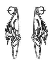 Arunashi - Black Diamond Leaf Hoop Earring - Lyst